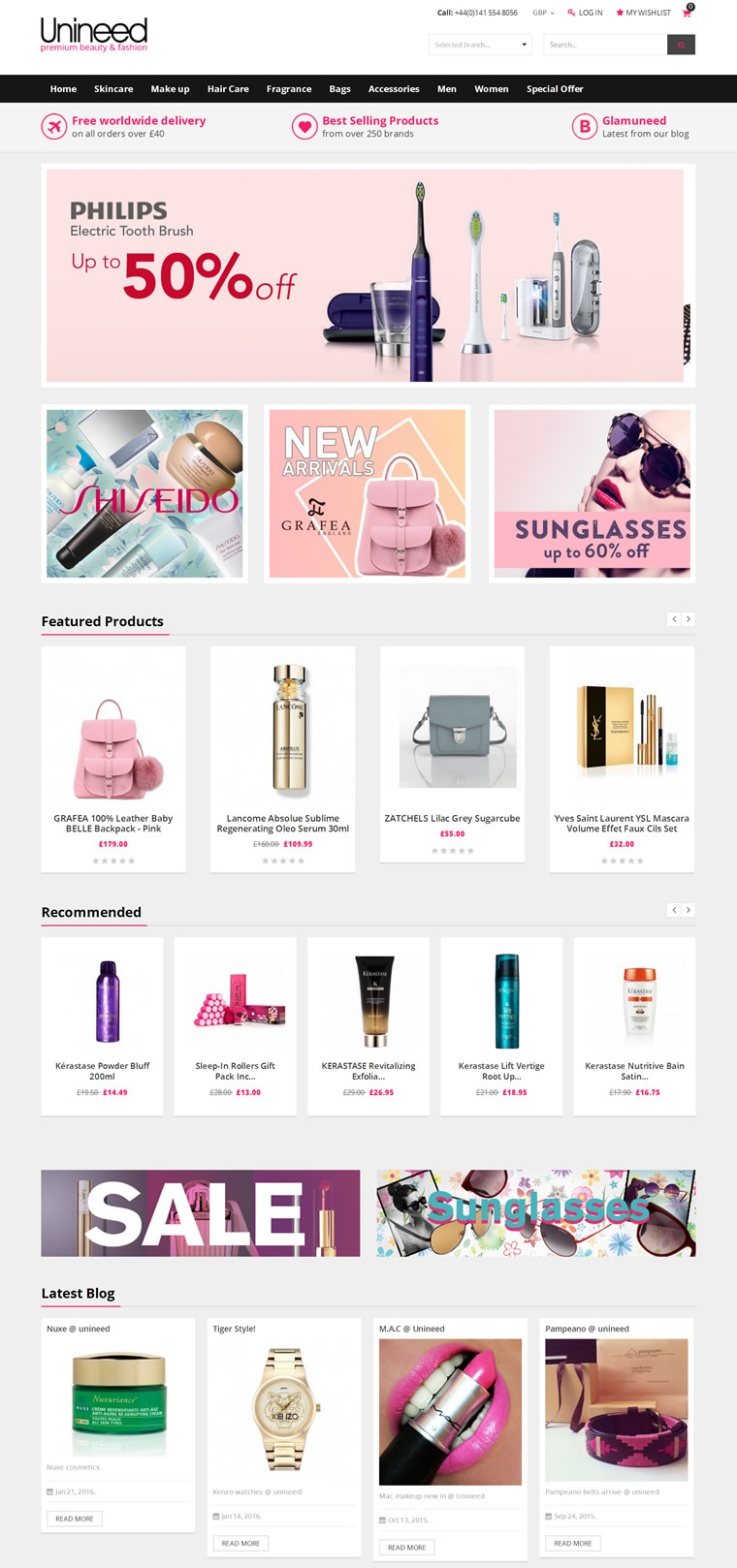Unineed.com Home Page - Premium beauty and fashi